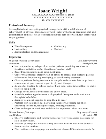 Physical Therapy Technician resume example Michigan