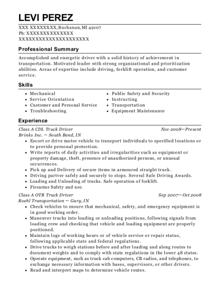 Class A CDL Truck Driver resume example Michigan