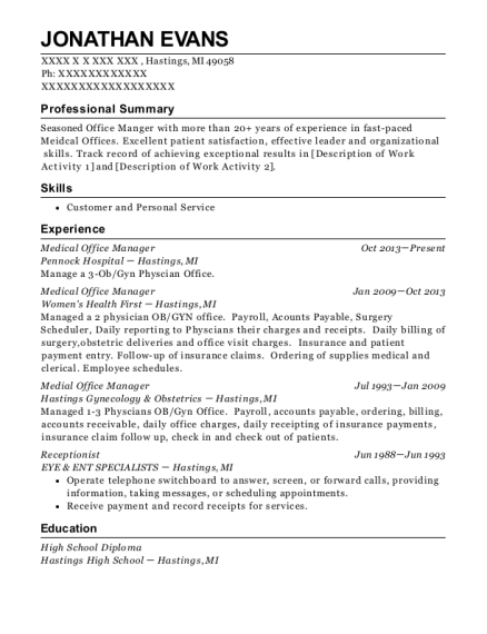 Medical Office Manager resume template Michigan