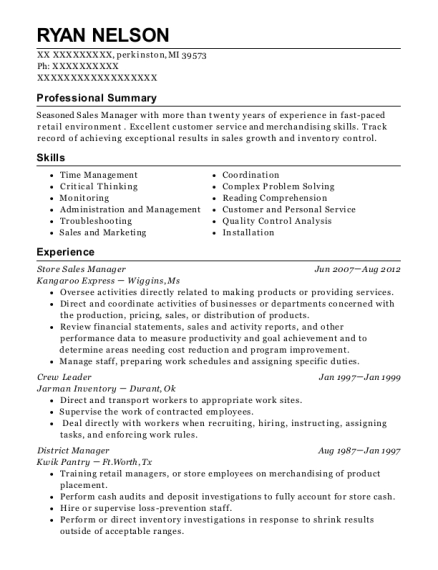 Store Sales Manager resume format Michigan