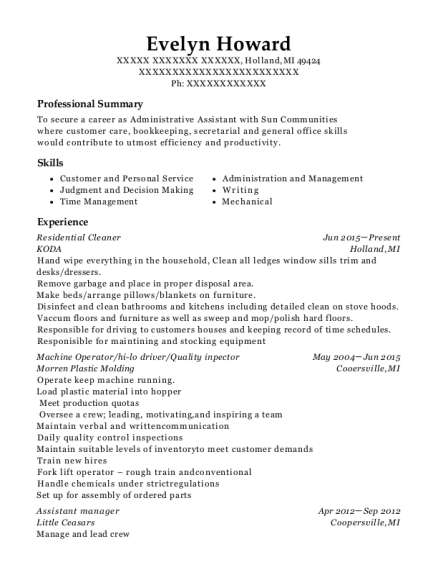Residential Cleaner resume template Michigan