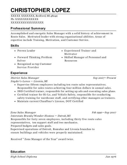 District Sales Manager resume format Michigan