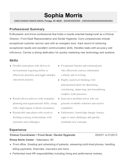 Clinical Coordinator resume sample Michigan