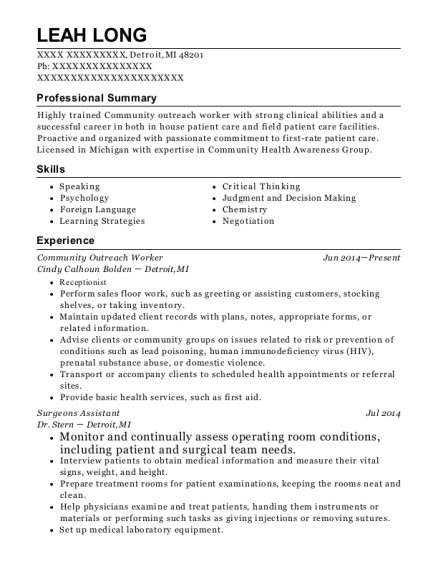 Community Outreach Worker resume sample Michigan