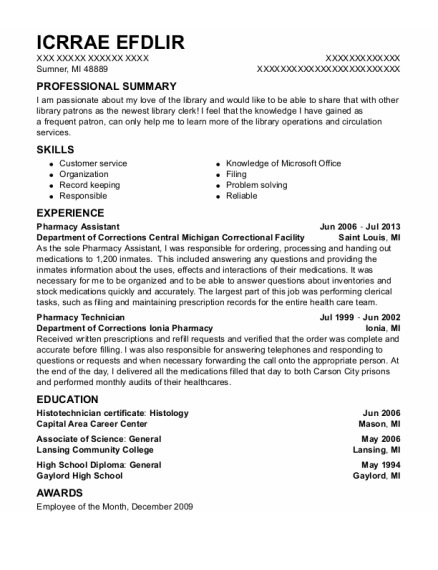 Pharmacy Assistant resume format Michigan