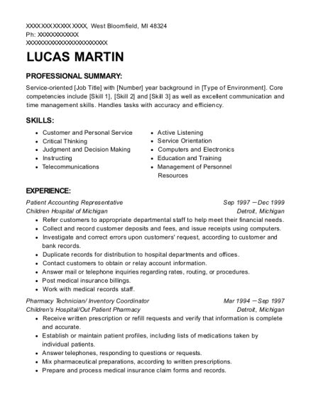 Patient Accounting Representative resume template Michigan