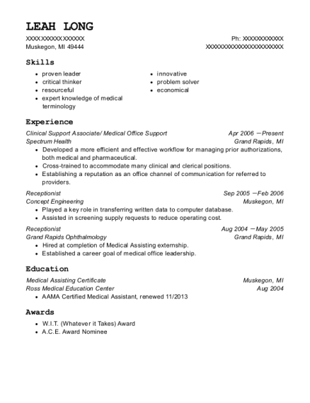 Clinical Support Associate resume example Michigan