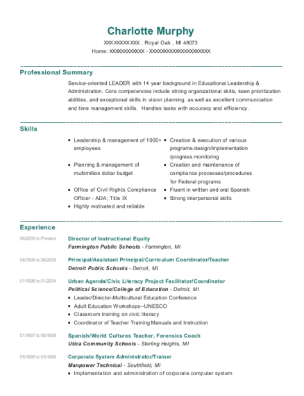 Director of Instructional Equity resume sample Michigan