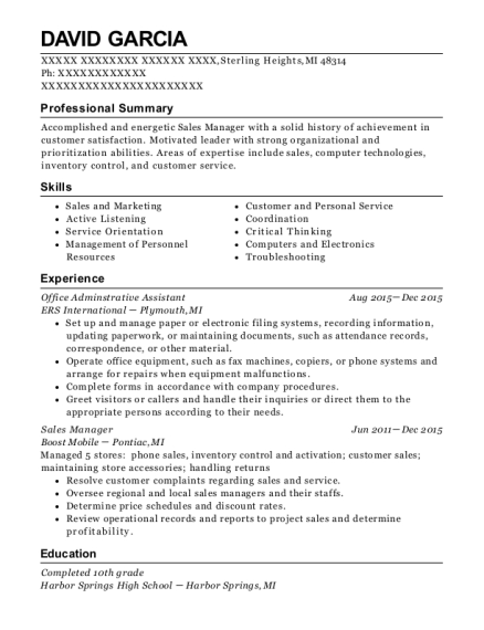 Office Adminstrative Assistant resume format Michigan