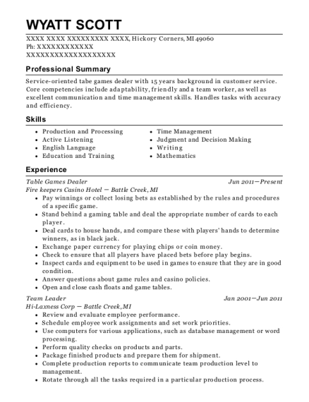 Table Games Dealer resume template Michigan