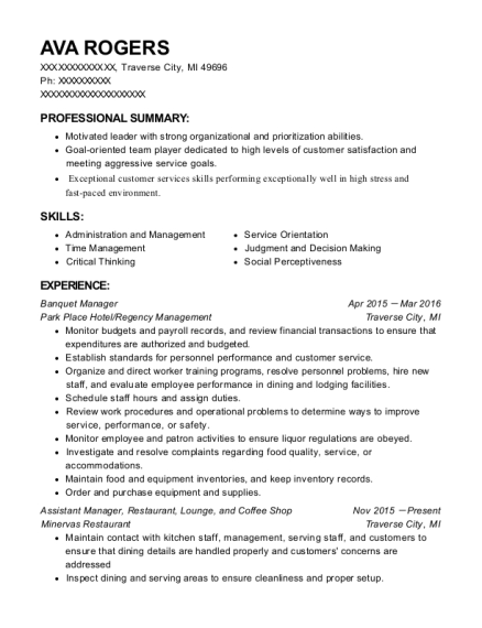 Banquet Manager resume format Michigan