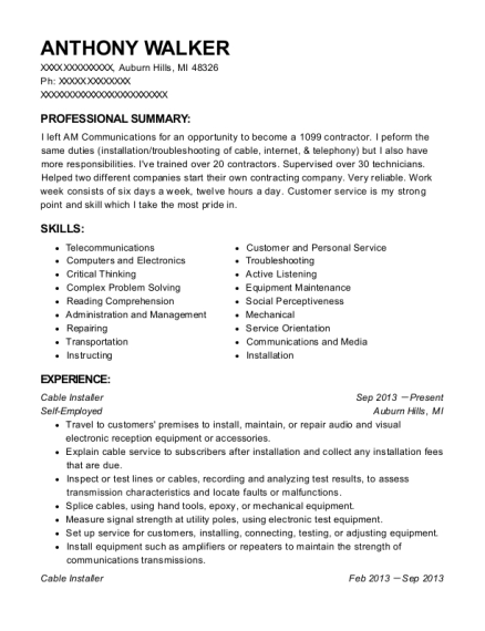 Cable Installer resume template Michigan