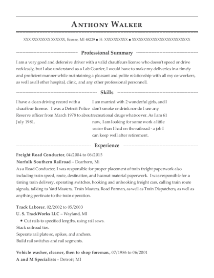 Freight Road Conductor resume example Michigan