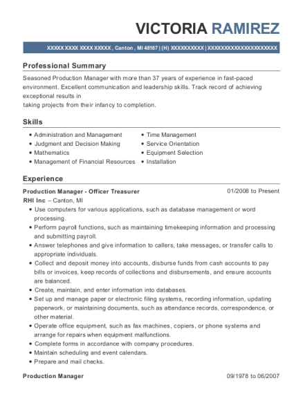 Production Manager Officer Treasurer resume example Michigan