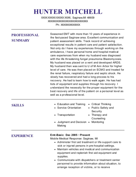 Emt Basic resume example Michigan