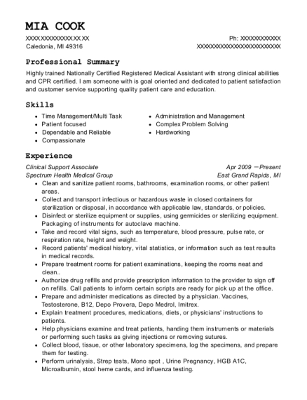 Clinical Support Associate resume format Michigan