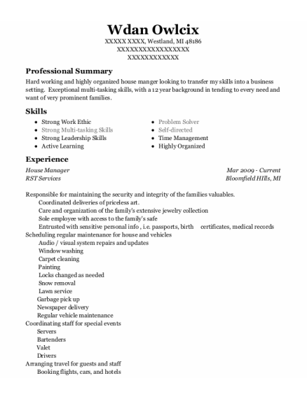 House Manager resume template Michigan