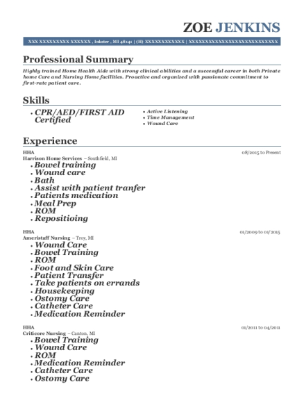 HHA resume sample Michigan