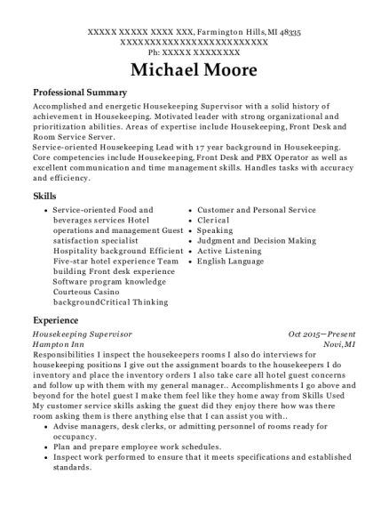 Housekeeping Supervisor resume example Michigan