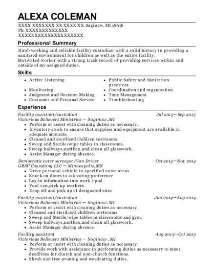 Facility assistant resume example Michigan