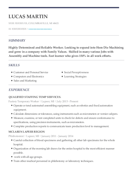 Factory Temporary Worker resume sample Michigan