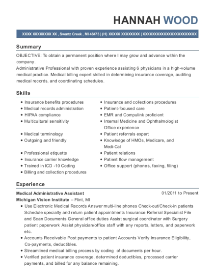 Medical Administrative Assistant resume template Michigan
