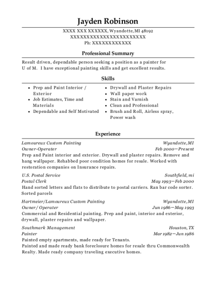 Owner Operater resume template Michigan