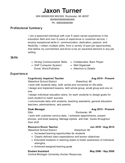 Cognitively Impaired Teacher resume sample Michigan