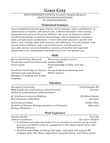 Clinical Coordinator resume template Michigan