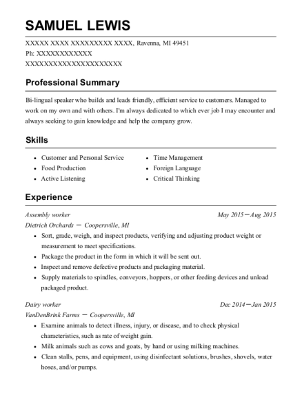 Assembly worker resume sample Michigan