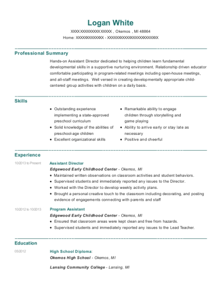 Assistant Director resume sample Michigan
