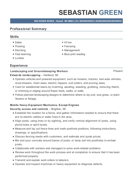 Landscaping and Groundskeeping Workers resume template Michigan