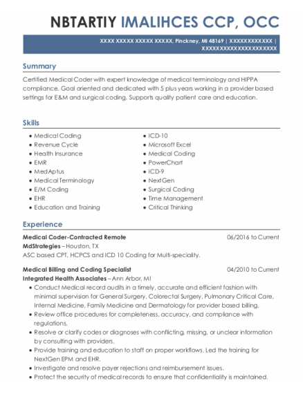 Medical Billing and Coding Specialist resume template Michigan