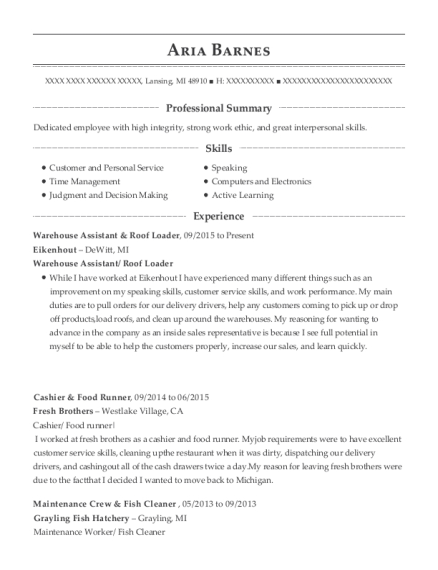 Warehouse Assistant & Roof Loader resume example Michigan