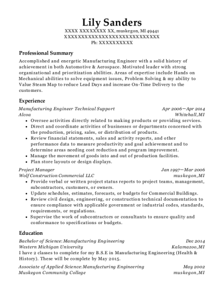 Manufacturing Engineer Technical Support resume template Michigan