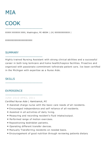 Certified Nurse Aide resume format Michigan