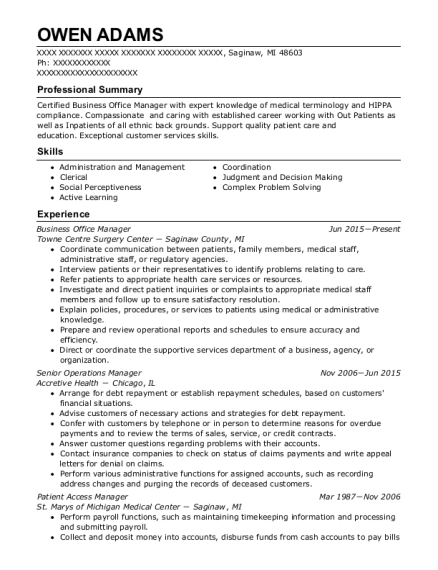 Business Office Manager resume sample Michigan
