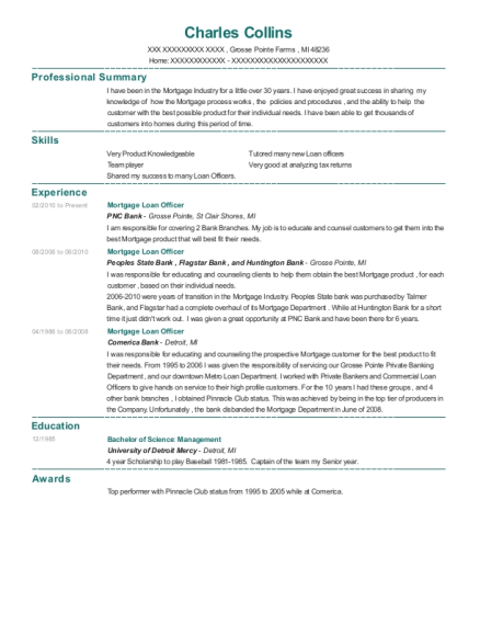 Mortgage Loan Officer resume format Michigan