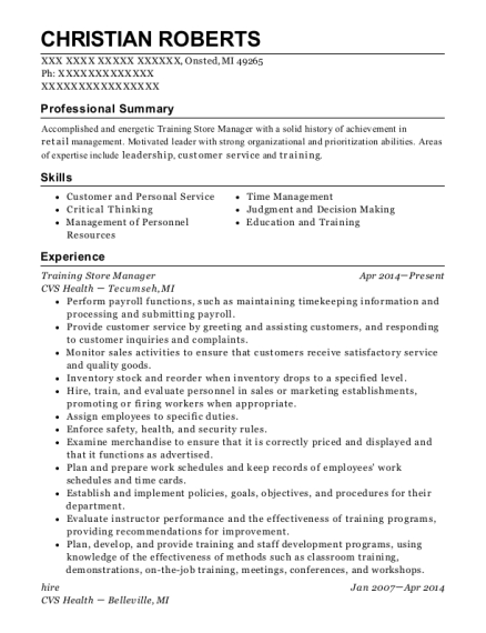 Training Store Manager resume template Michigan