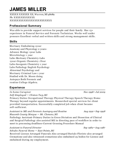 In home Caregiver resume template Michigan