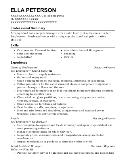 Cleaning Professional resume format Michigan