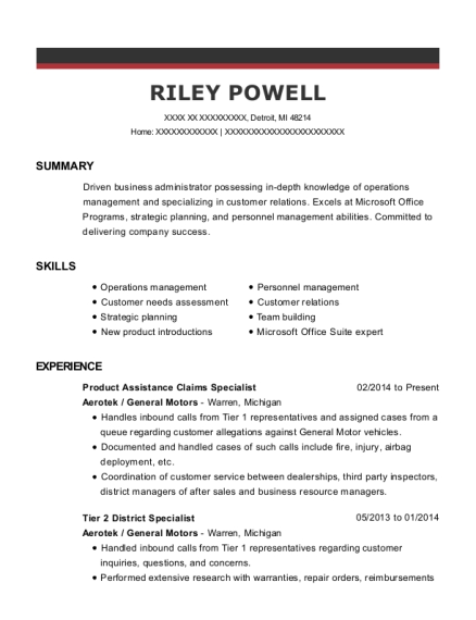 Product Assistance Claims Specialist resume example Michigan