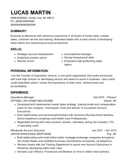 Operations Manager resume sample Michigan
