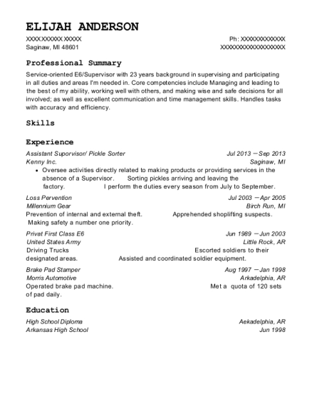 Assistant Suporvisor resume template Michigan