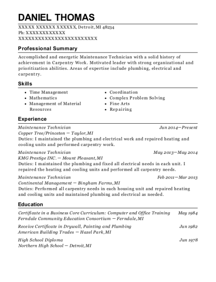 Maintenance Technician resume example Michigan