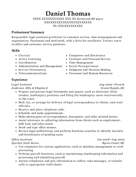 Legal Assistant resume format Michigan