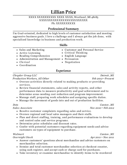 Production Workers resume template Michigan