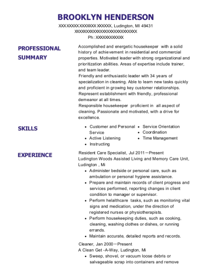 Resident Care Specialist resume sample Michigan