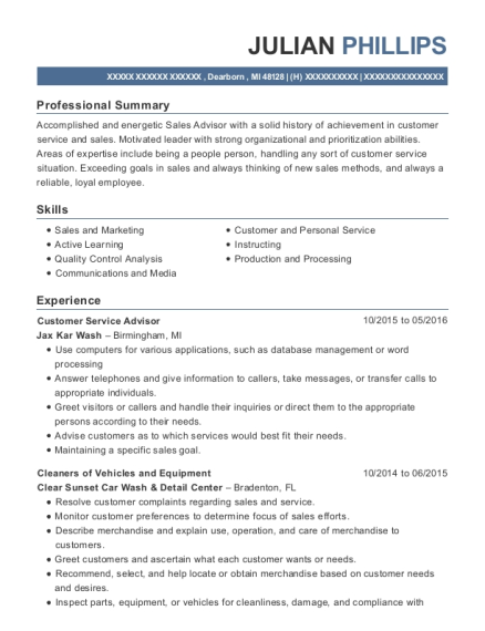 Customer Service Advisor resume sample Michigan