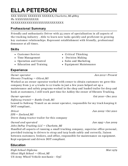 Owner operator resume template Michigan